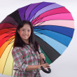 Smile asia cute girl with colorful umbrella — Foto Stock
