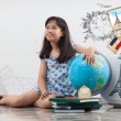 Girl travel around the world — Stock Photo