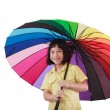 Smile asia cute girl with colorfule umbella — Foto Stock