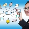 Business woman hand drawing cloud network sharing — Stock Photo #12039961