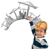 Little architect drawing creative idea about building — Stock Photo