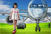 Girl travel around the world with airplane — Foto Stock