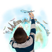 Boy drawing the dream travel around the world — Stock Photo