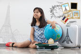 Girl travel around the world — Stockfoto