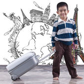 Boy pulling bag for dream travel around the world — Stok fotoğraf