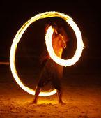 Amazing Fire Show at night on samet Island, Thailand — Stock Photo