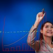 Woman hand drawing a growth graph — Stock Photo