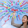 Businessman painting share idea, new trend of social network — Stock Photo