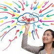Businessman painting share idea, new trend of social network - Zdjęcie stockowe