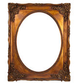 XXL isolated with clipping path: Picture gold frame with a decor — Stock Photo