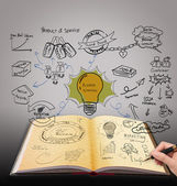 Magic book with business strategy idea — Stok fotoğraf