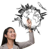 Woman drawing the dream travel around the world in a whiteboard — Stock Photo