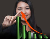Business woman touching growthing arrow , Business success conce — Stock Photo