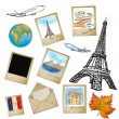 Drawing famouse landmark of France in photo frame — Stock Photo