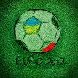 EURO 2012 logo on Artificial Grass leaf background — Stock Photo