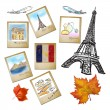 Drawing famouse landmark of France in photo frame - Stock Photo
