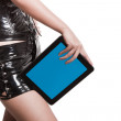 Modern future woman with modern touch pad pc — Stock Photo