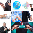 Business collage set of nine pictures - Foto Stock