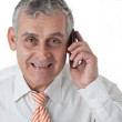 Portrait of an aged business man calling using mobile phone — Stock Photo