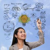 Donna pensando alla strategia del processo di business, di marca marketing — Foto Stock