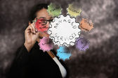 Business woman drawing managed services — Stock Photo