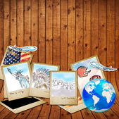 Drawing famouse landmark of america in photo frame — 图库照片