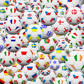 Soccer ball of final team in Euro 2012 background — Stock Photo