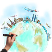 Drawing the dream travel around the world in a whiteboard — Stock Photo