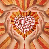 Hands make heart shape — Stock Photo