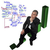 Business man sitting on growth pie graph and thinking for big bu — Stock Photo