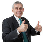 Portrait of confident mature businessman giving you thumbs up on — Stock Photo