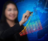 Business woman drawing growth tend of business success and digit — Stock Photo