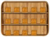 Aplicação de madeira com ícones da aplicação — Foto Stock