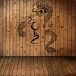 Year 2012, old grung paper with dragon on wood Texture use for background — Stock Photo #12182641