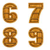 Liczba wykonanych z drewna, na białym tle. — Zdjęcie stockowe