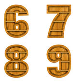 Number made from wood, isolated on white background. — Stok fotoğraf