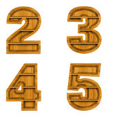 Number made from wood, isolated on white background. — Stock Photo