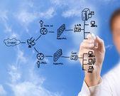 ファイアウォールのシステムのセキュリティの計画図面の実業家 — ストック写真