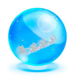 Santa Claus On Sledge With Deer and full moon in blue crystal ball — Stock Photo