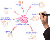 Business woman drawing the marketing mix idea board of business — Foto Stock