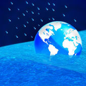 Save the world, The earth floating in a pool of water - this wor — Stock Photo