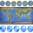 Grunge paper world map with earth globes in paper style and crys — Stock Photo