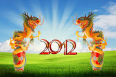 Dragon of year 21012 background with clipping path — Stock Photo