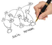 Business man drawing a social network — Stock Photo