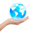 Hand holding crystal globe, Save world concept — Stock Photo