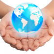 Hand holding crystal globe, Save world concept — Stock Photo #12300682