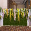 Flowers backdrop decorate for wedding ceremony — Stock Photo