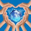 Hands make heart shape on social network — Stock Photo #12302695