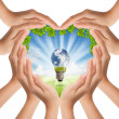 Hands make heart shape cover nature and light bulb — Stock Photo #12303108