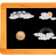 Stock Photo: Black board Wooden frame with cppy space